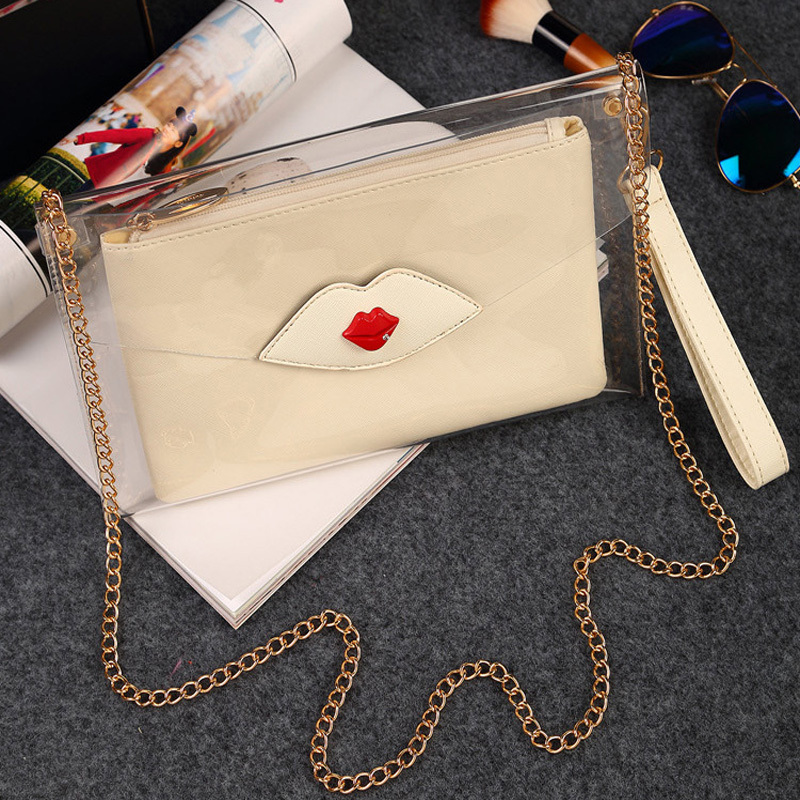 Fashion Woman See Through Bags Designer Handbag Pvc Transparent Envelope Clutch Lady Chain Shoulder Bag In Clutches From Luggage On Aliexpress