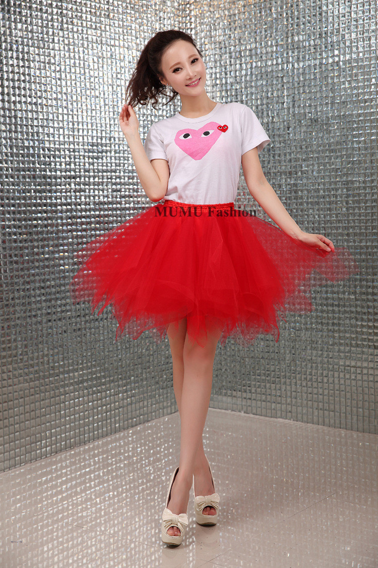 Red Tulle Skirt Womens - Skirts