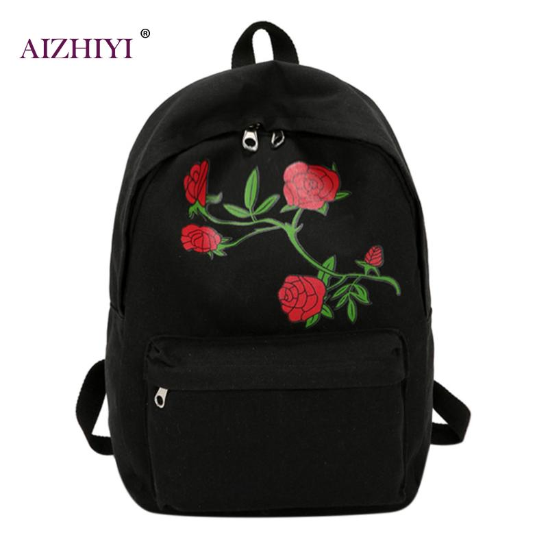 Flower Printing Backpack for Women Girls Casual Canvas Large Capacity School Bag Rucksack Female Pink Travel Backpack