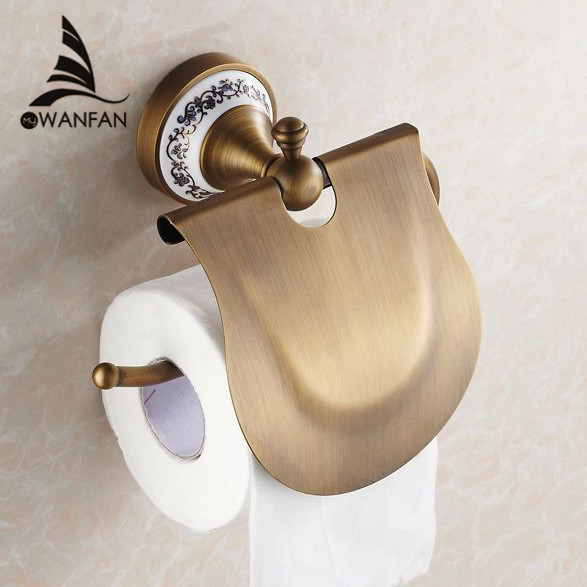 Paper Holders Antique Finish Paper Holder Tissue Roll Holder Wall Mounted Brass Construction Bathroom Accessories HJ-1807F meifuju vintage toilet paper holder with shelf wall mount bathroom accessories bronze paper holders antique brass roll holder