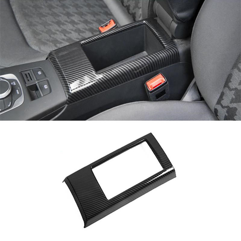 Carbon Fiber Color Central Armrest Storage Box Panel Cover Trim For Audi A3 8V