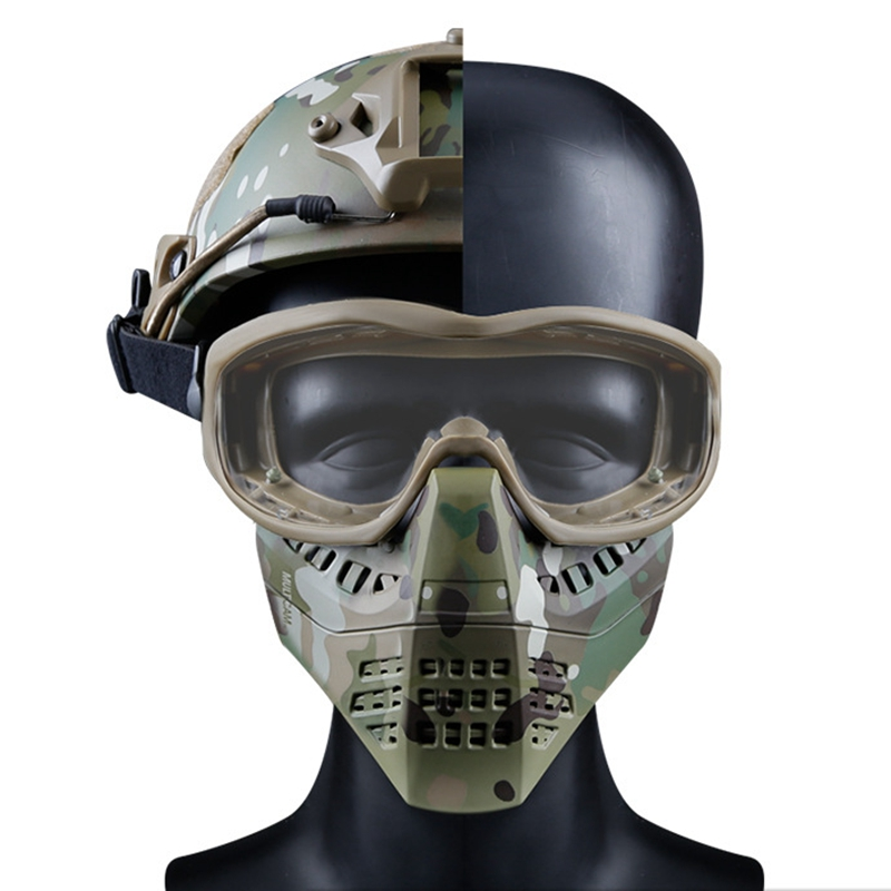 Outdoor Hunting Shooting Masks Detachable Tactical CS Masks Helmet Version & Headband Version Military Airsoft Mask With Goggles