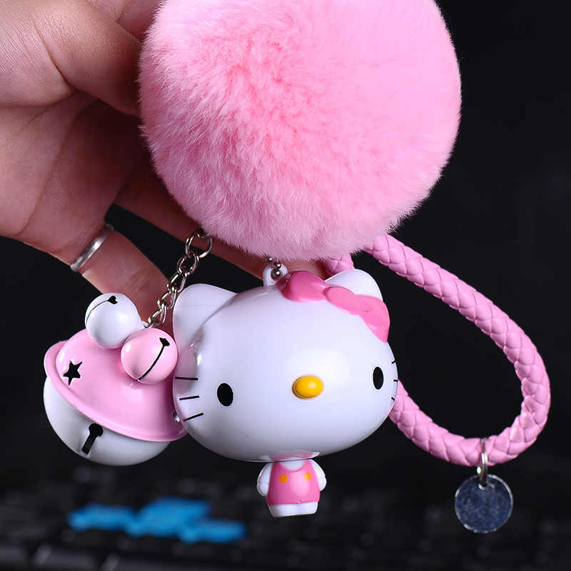 08bc5e9ae Cartoon Trolley Cat Hello Kitty Keychain Leather Rope Key Ring Fluffy  Rabbit Fur Pompom Key Chains