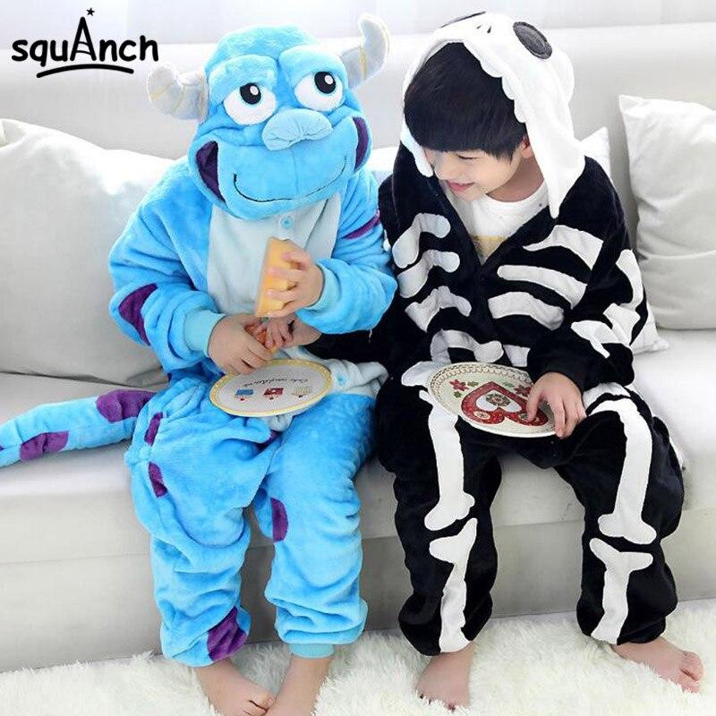 Sullivan Onesie Cartoon Animal Kigurumis Children Boy Girl Pajama Cute Funny Carnival Jumpsuit Winter Flannel Long Sleev