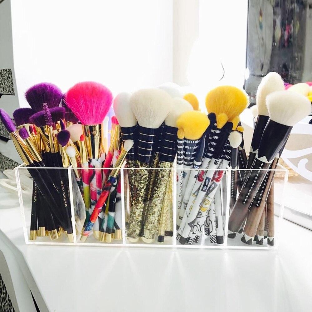 YAGELI акриловые кисти для макияжа, органайзер, контейнер, акриловая коробка для хранения, прозрачный косметический Органайзер, 5 слотов