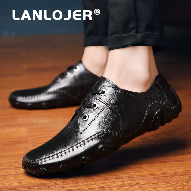 Summer Men Casual Shoes High Quality Leather Mens Loafers Comfortable Lace Up Men Shoes Flat Driving