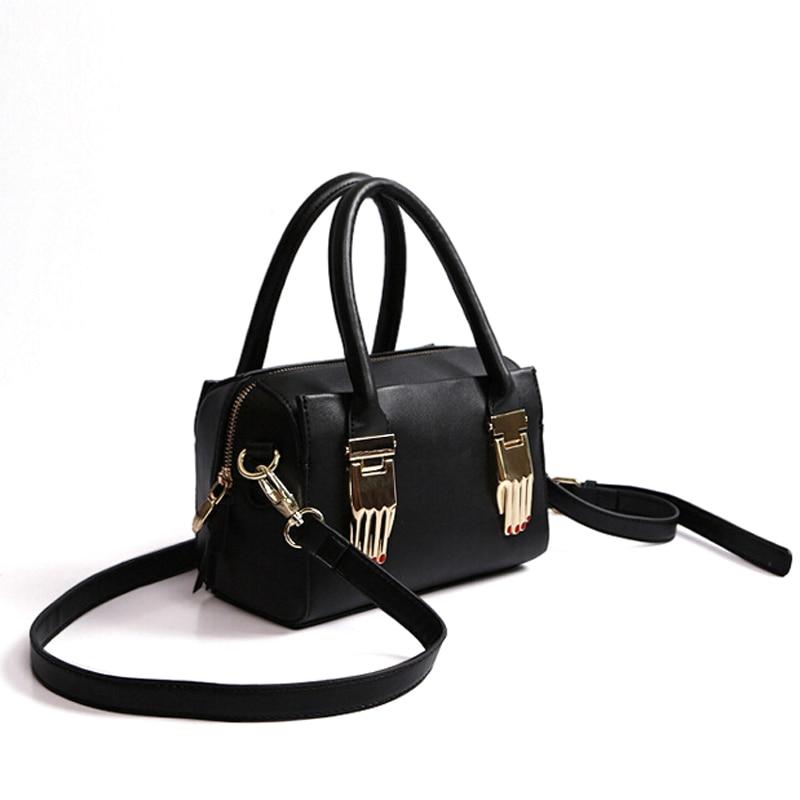 ФОТО 2016 High Fashion Women Handbags Famous Brand Punk Hand Cover Shoulder Messenger Bags Boston Pillow Bag