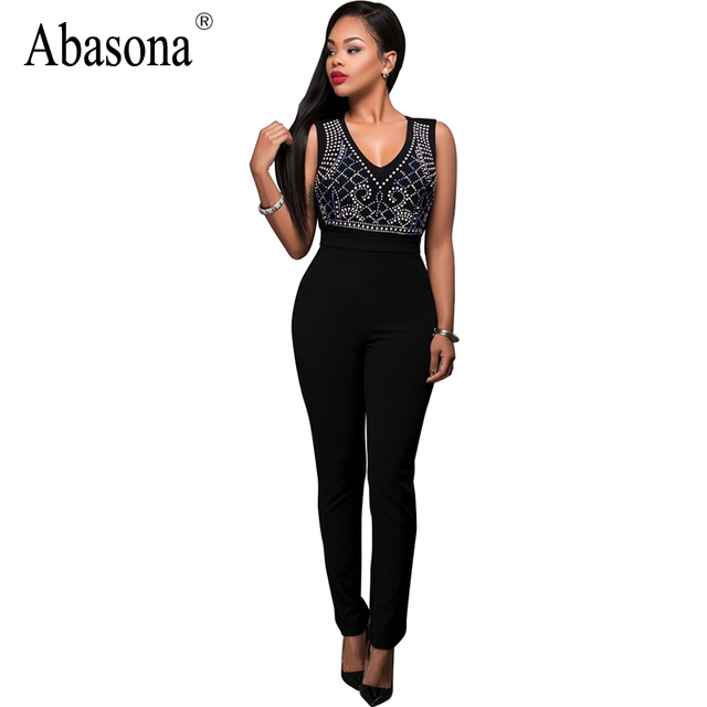 17b7da193 Abasona Transparent v neck dot print romper Zipper sleeveless sexy overalls  for women Long pants black