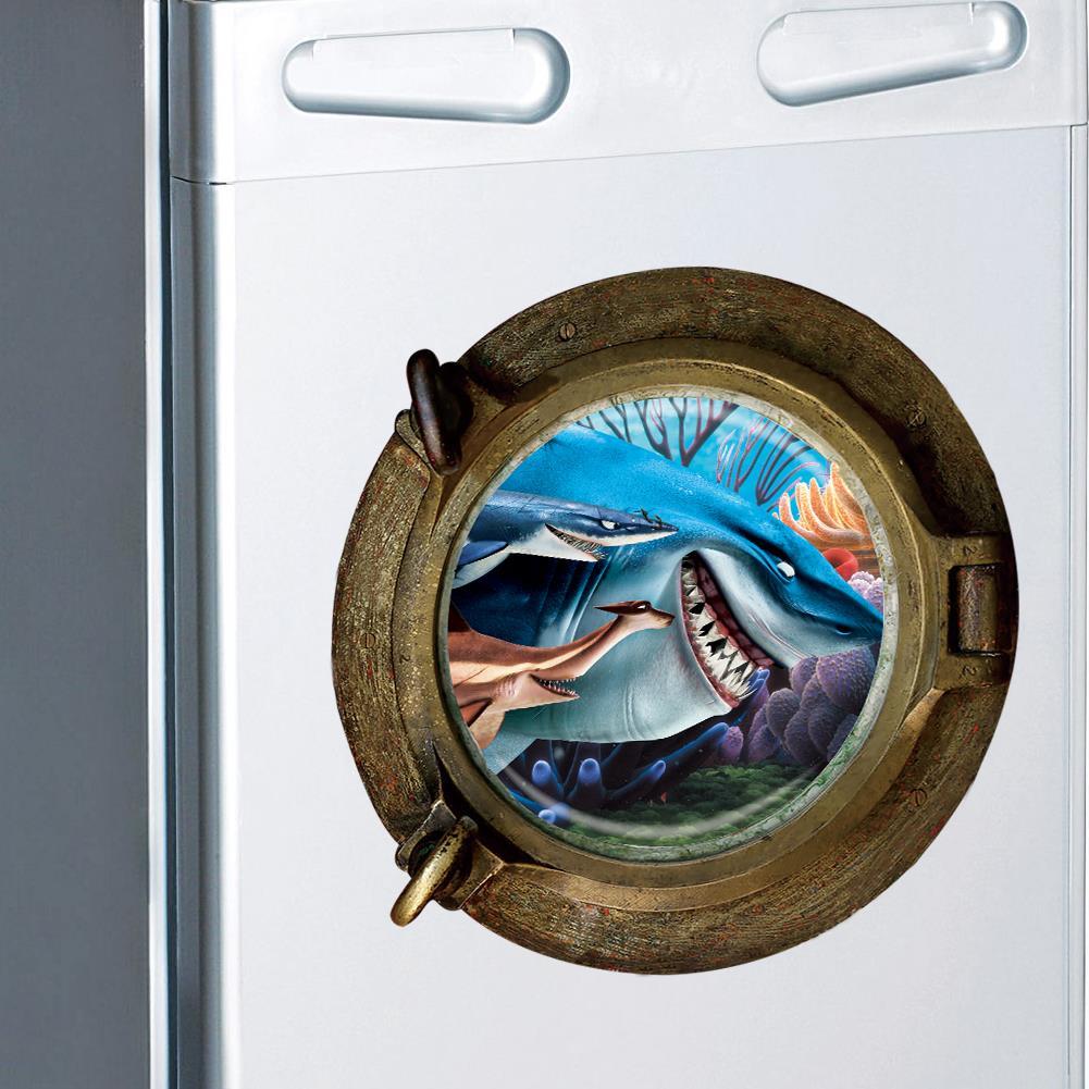 Stickers Pour Fenetre Chambre ▽3d vue sur l'océan requin fenêtre autocollant stickers