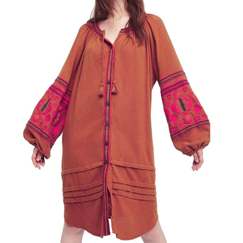 Boho 2019 été femmes surdimensionné ethnique broderie lâche bohème robes cape manches Hippie plage gens Chic vacances Vestido