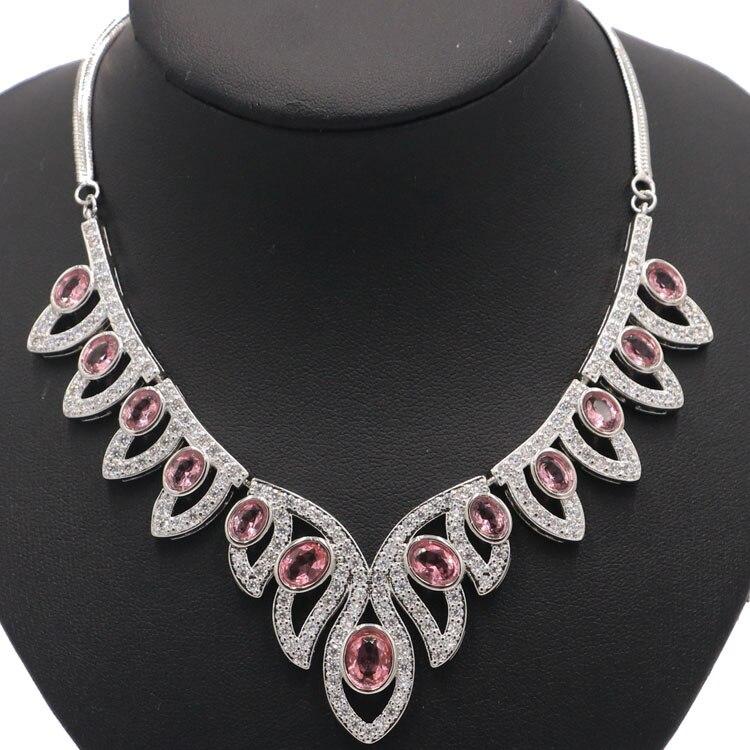 Stunning Rosa Morganit Weiß CZ SheCrown Damen Silber Halskette 18,0 18.5in 42x39mm-in Halsketten aus Schmuck und Accessoires bei  Gruppe 1