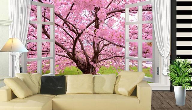 Custom 3d Wallpapers For Wall Cherry Tree Natural Scenery Living Room Stereoscopic Wallpaper