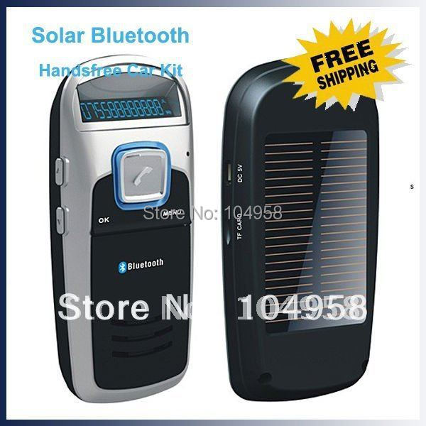 Solar Powered Bluetooth Car Kit Handsfree Car Kit With FM Function MP3 Player Free Shipping & Drop Shipping