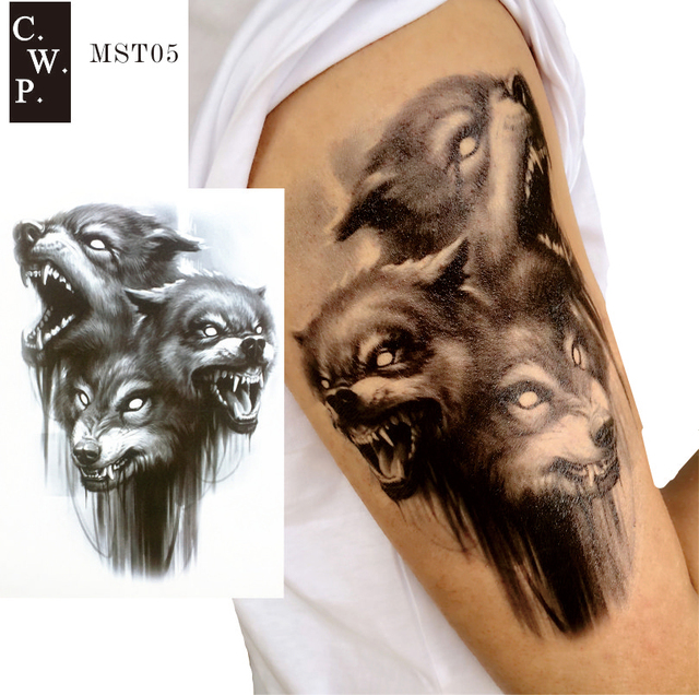 4fe9ae7ff MST05 1 Piece Black Three Head Wolf Howling Man Sleeve Tattoo can be Women  Thigh body paint Tattoos