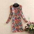 Осень и Зима платье новое прибытие с длинными рукавами платье печати плюс бархат утолщение плюс размер тонкий зимние платья