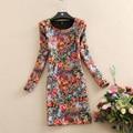 Autumn and Winter dress new arrival long-sleeve print  dress plus velvet thickening plus size slim winter dresses