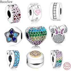 Mix CZ Enamel Heart Mickey Clip Stopper Bead Fit Original Pandora Charms Bracelet 925 Sterling Silver Jewelry Women Gift Bangle