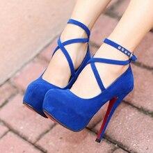 Size 34-42 Super High Thin Heels Shoes Spring Autumn Pumps T-strap Buckle Strap Retro Round Toe Pumps Wedding Shoes Women