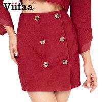 865076479a Viifaa Red Corduroy Short Skirt Double Breasted A Line High Waist School  Mini Skirts Women Autumn