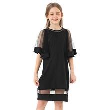 Детское черное шифоновое платье свободные трапециевидные вечерние