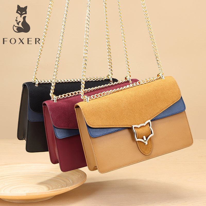 FOXER Brand Leather Womens Crossbody Bag New Fashion Shoulder Bag Chain Messenger Bags for Lady Versatile Bag For Girl