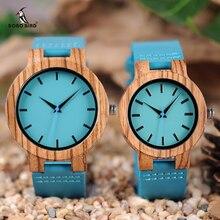 Мужские голубые часы с кожаным браслетом WC28 BOBO BIRD, часы в старинном стиле из дерева с голубым аналоговым дисплеем, часы из бамбука в подарочной коробке