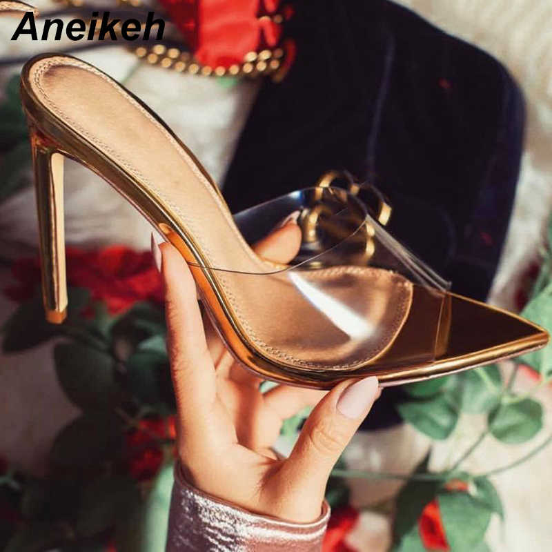 Aneikeh 2019 Classic PVC Summer High Heel Slippers Open Toe Sexy Transparent Thin High Heels Solid Pointed Toe Gold Size 35-40