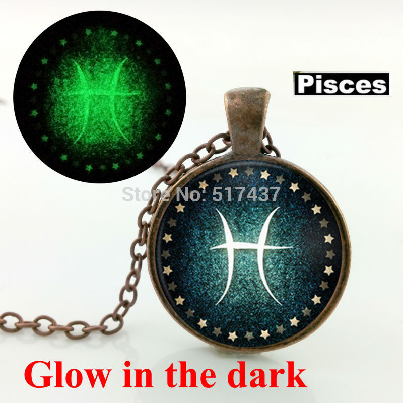 Glow in the dark jewelry Pisces Necklace Zodiac Sign Pendant Constellation Jewelry glass art photo glowing necklace pendant