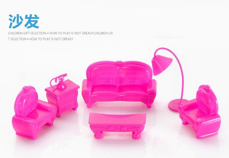 6 Sztuk Pi Kne Plastikowe Kanapa Rozk Adana Zestaw Zestaw Mebli Meble Domek Dla Lalek Barbie Doll Akcesoria