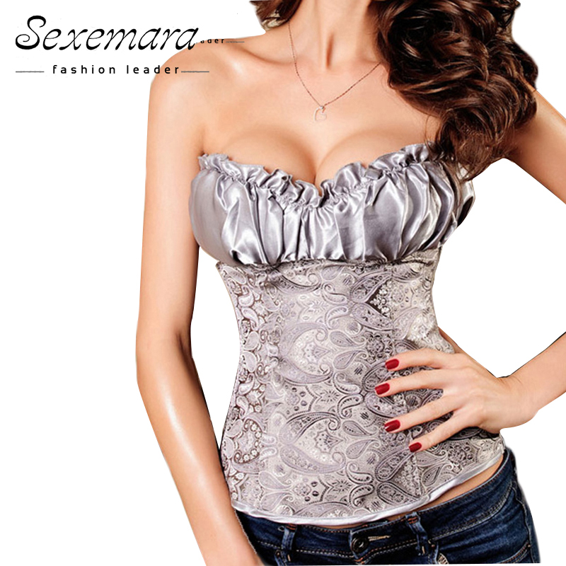 Plus Size S-6XL Body Shaper White Corselet Gothic Corsage Lingerie Sexy Corpetes e Espartilhos Waist fashion Corsets Top CO18