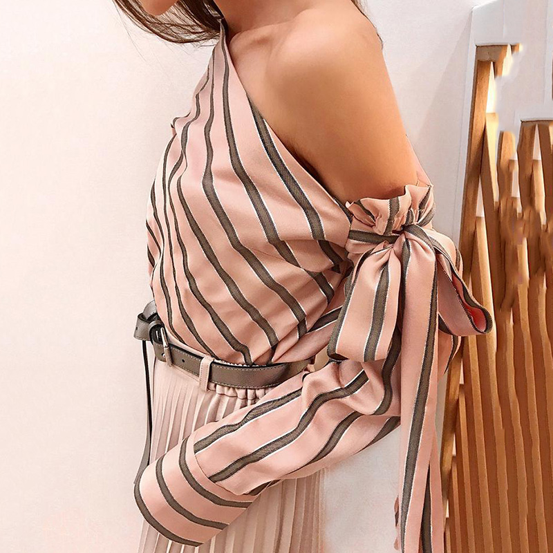 Striped Blouse One Shoulder Tops Sexy Long Sleeve Bow Shirts 4