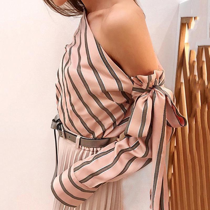Umeko Striped Blouse Women One Shoulder Tops Sexy Long Sleeve Bow Shirts Female Fashion Women's Blouses 19 Chemisier Femme 9