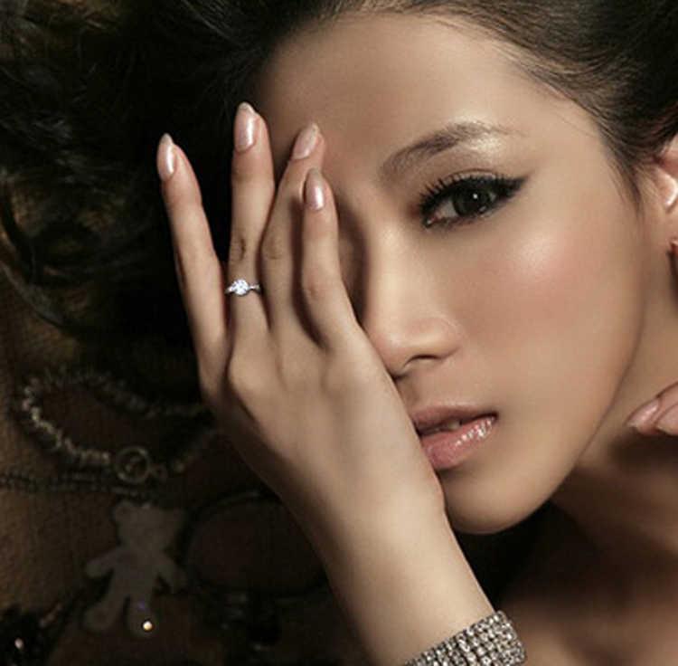 Haute qualité couleur argent strass incrusté femme anneaux de mariage cadeau anneau bagues de fiançailles pour les femmes livraison gratuite