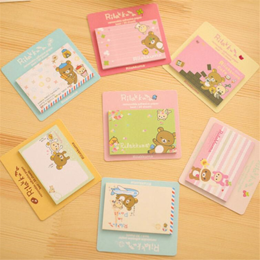 3PC/Lot Rilakkuma Notepad / Message Post / Removable Adhesive Paper Memo Pad Sticky Notes School Office Escolar Papelaria