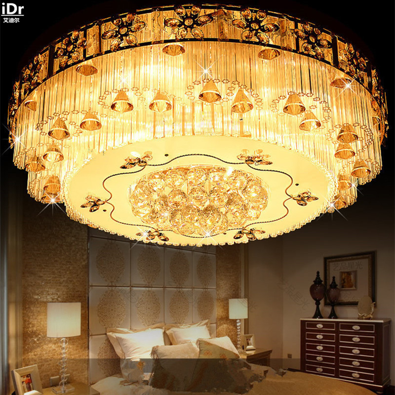 Traditional Luxury Modern Crystal Ceiling Living Room Lamp Golden Atmosphere Round Lights Lmy