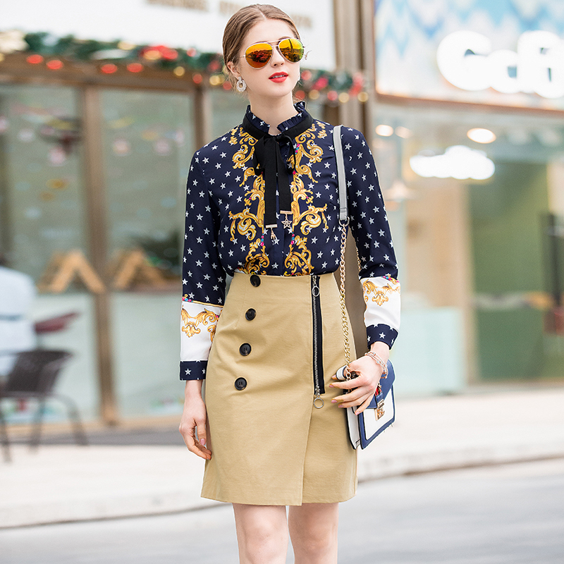 2019 Spring New Pretty Slim Sets High Quality Fashion 2 Pieces Full Sleeve Print Shirts +Buttons Skirts Female Slim Suits