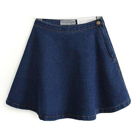 2016 Hot sale Da Moda AA American Apparel Casual Sólidos Denim Círculo Jean mini Saia de Algodão botão Frete grátis SK-006