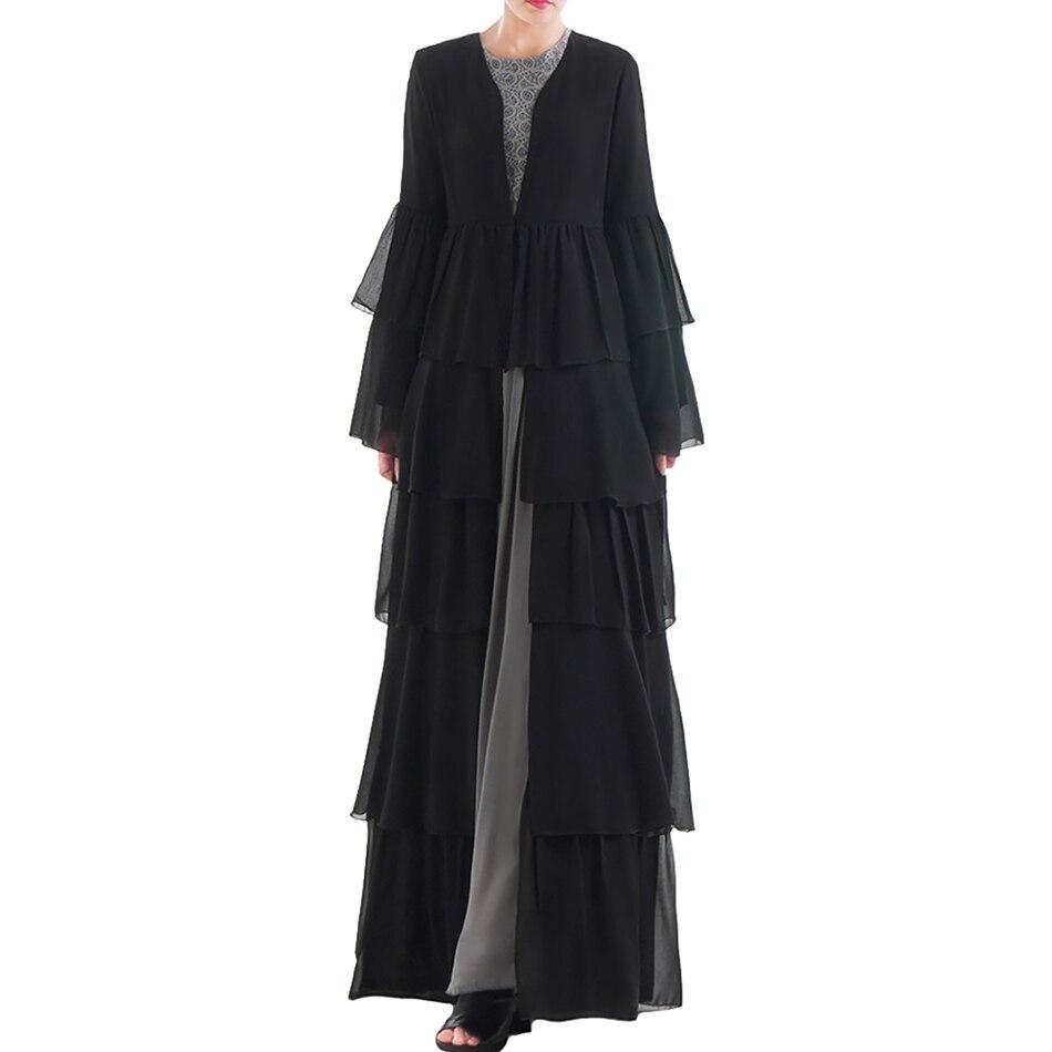 Babalet femmes musulmanes Robe noire islamique arabe haut de gamme Cardigan lâche Slim dubaï Robe en mousseline de soie grande balançoire jupe à volants manches