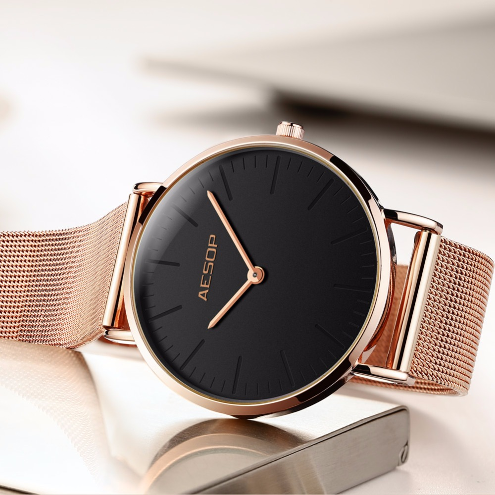 Women watches Ladies watch AESOP top brand luxury dress Rose gold Stainless steel mesh bracelet Women's watch Clock Wrist watch