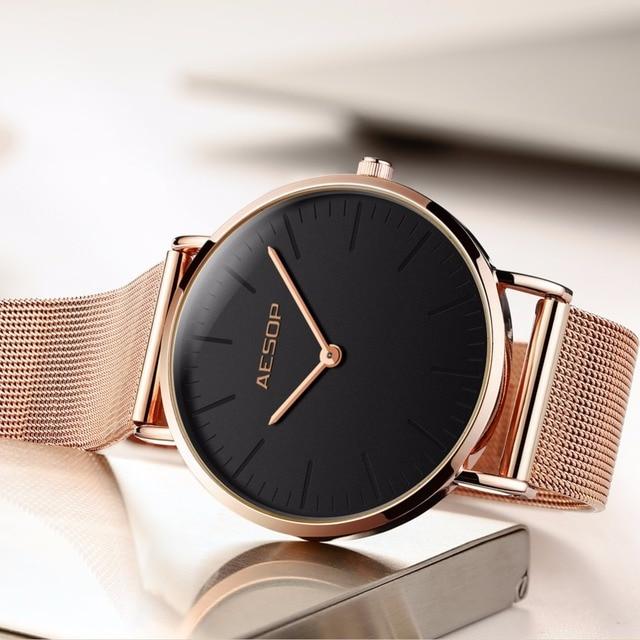 Frauen uhren Damen uhr AESOP top marke luxus kleid Rose gold edelstahl mesh armband frauen uhr Uhr Handgelenk uhr