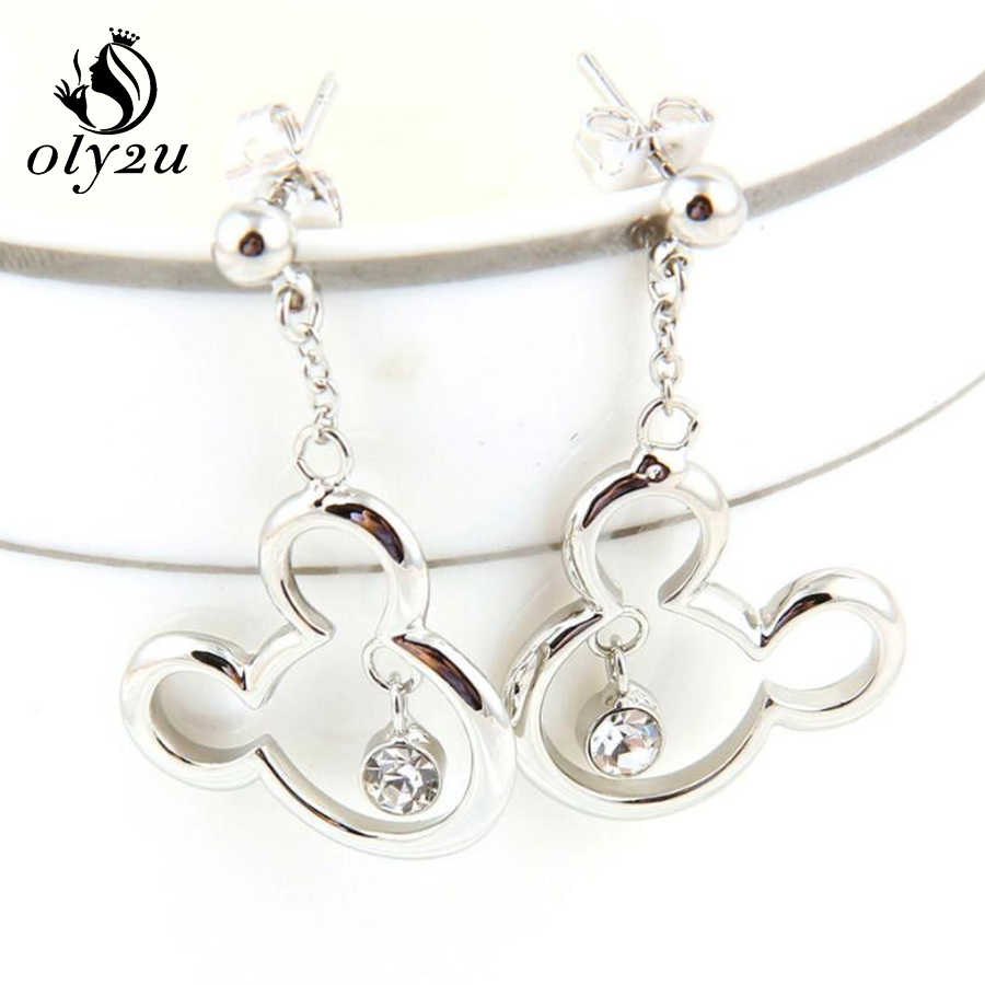 Oly2u Mickey collier ensembles pour femmes boucles d'oreilles colliers ensembles de bijoux souris Mickey collier Choker boucles d'oreilles ensemble de bijoux