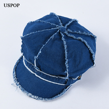 USPOP 2019 New octagonal hats women vintage denim spring solid color newsboy caps unisex visors