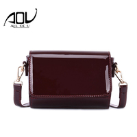 New Glossy Leather Messenger Bags Simple Design Ladies Shoulder Bags Mini Flap Bag Female Small Crossbody