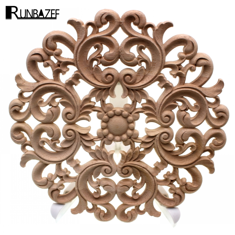 RUNBAZEF Lot Carving Natural Wood Appliques For Furniture Cabinet Unpainted Wooden Mouldings Decal Vintage Home Decor Decorative