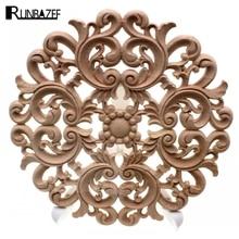 Lote de aplicaciones RUNBAZEF de madera Natural tallada para muebles, armarios, molduras de madera sin pintar, calcomanía decorativa Vintage para el hogar