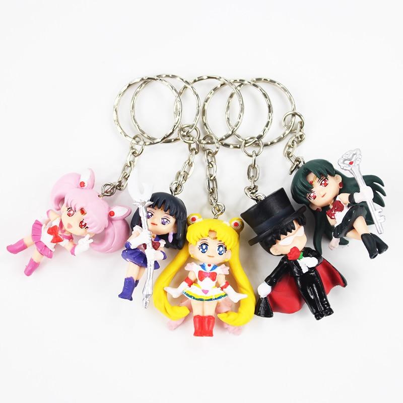 5 pcs / lot Anime Sailor Moon Mars Jupiter Venus Merkuri Gantungan - Tokoh mainan
