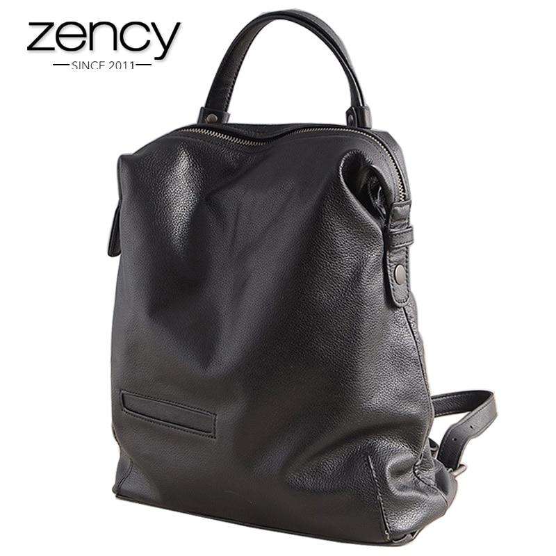 76668590d4 Zency 100% Del Cuoio Genuino delle donne di Modo Zaino di Grande Capacità Borse  Da