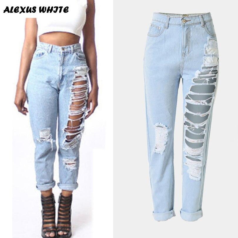 Hole Denim Trousers font b Women b font 2017 Loose Straight Pants Capris Fashion Female Loose