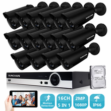 16CH 5 in 1 Hybrid Full HD 1080P CCTV System 16pcs 1080P 2.0MP Security Camera Outdoor Waterproof IP66 CCTV Surveillance Kit HDD