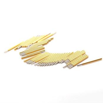 цена на 100PCS P75-J1 Nickel Plated Round Needle Head Spring Test Probe Dia 0.74mm Pogo Pin For Testing Power Contact Gold Thimble Tool